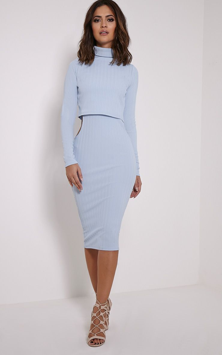 Alma Pale Blue Ribbed Cut Out Long Sleeve Midi Dress 1