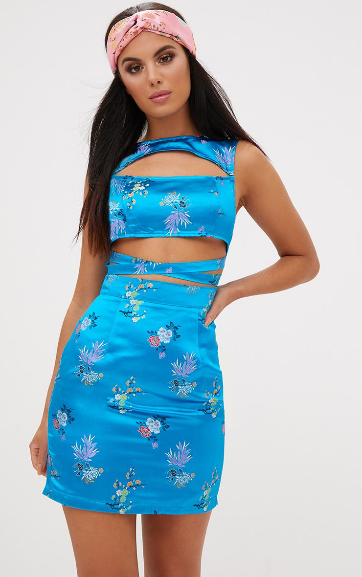 Turquoise Oriental Satin Cut Out Bodycon Dress. Dresses ...