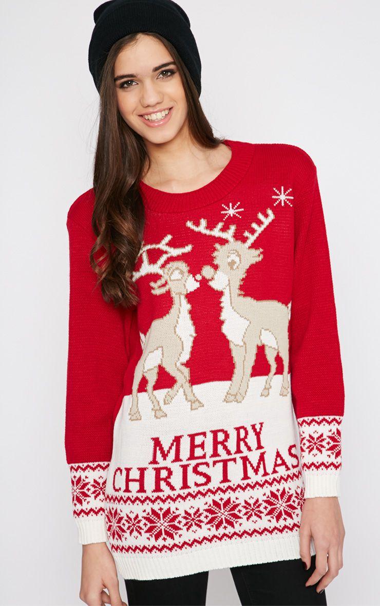 Shae Red Merry Christmas Reindeer Jumper 1