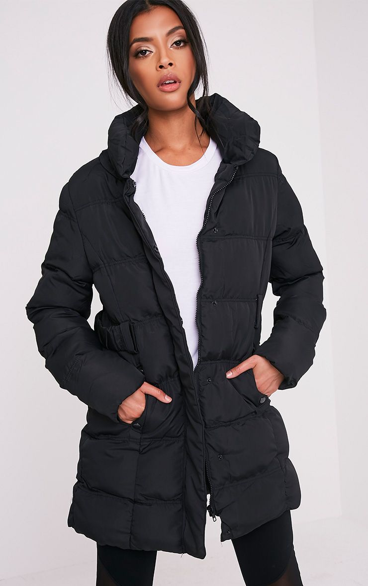 Phonel Black Belted Padded Parka