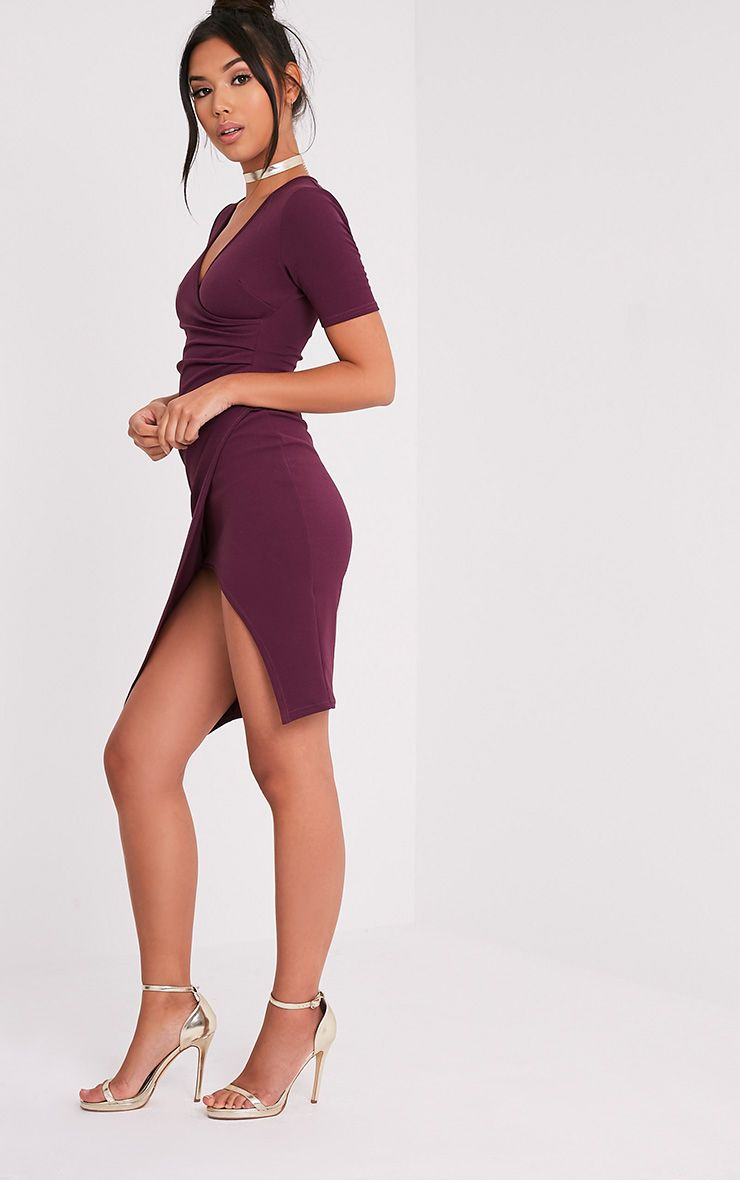 Ivie Aubergine Short Sleeve Wrap Front Midi Dress 4