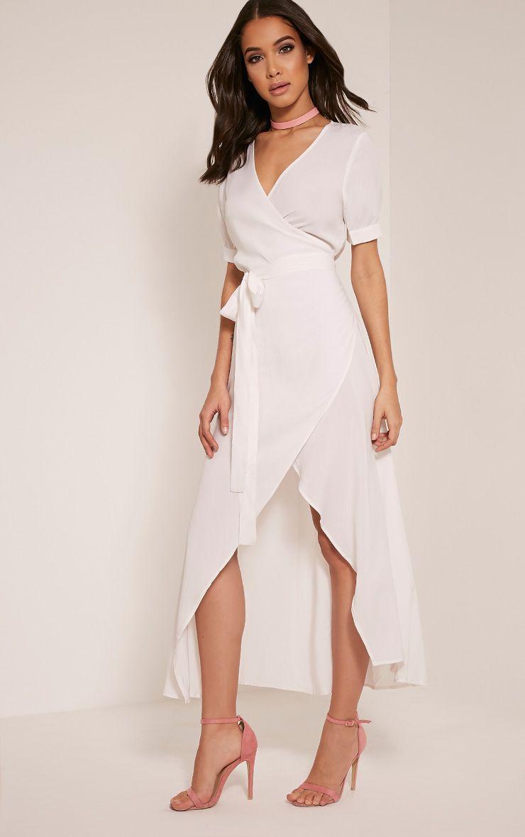 Renesmee White Wrap Maxi Shirt Dress Dresses