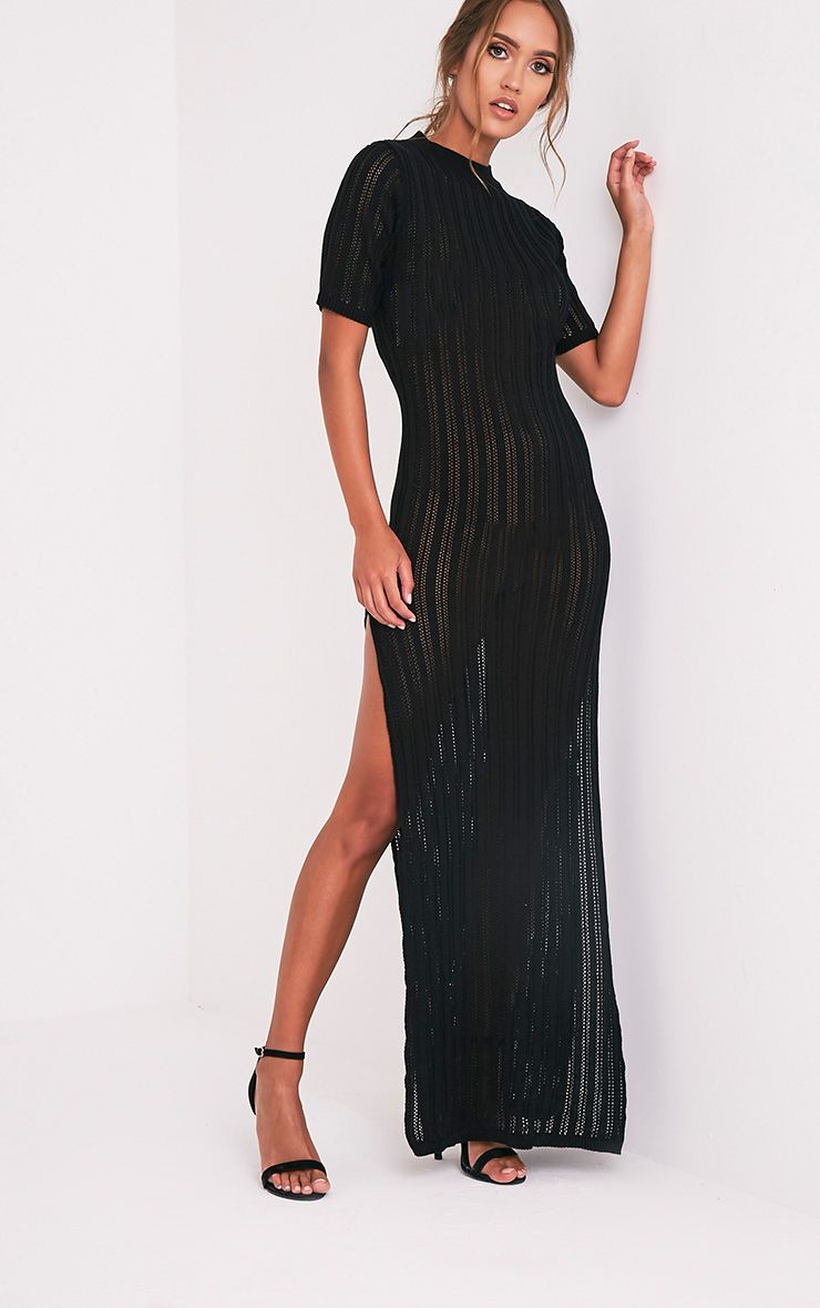 Zaria Black Striped Knitted Maxi Dress