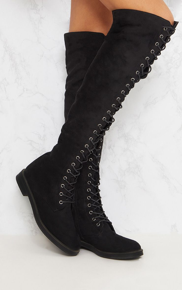 Black Lace Up Knee Boot