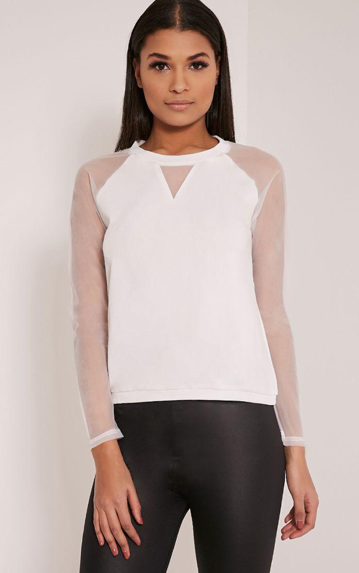 Nicola White Mesh Panel Sweatshirt 1