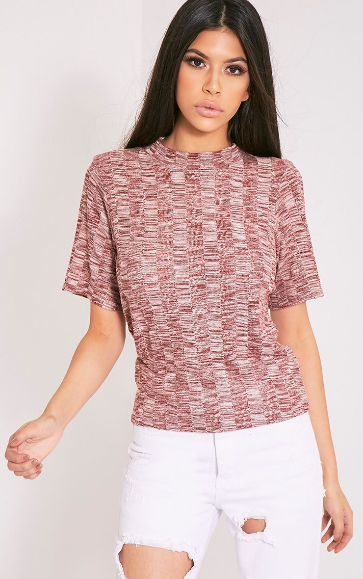 Laylae Red Fine Knit Short Sleeve Top 1