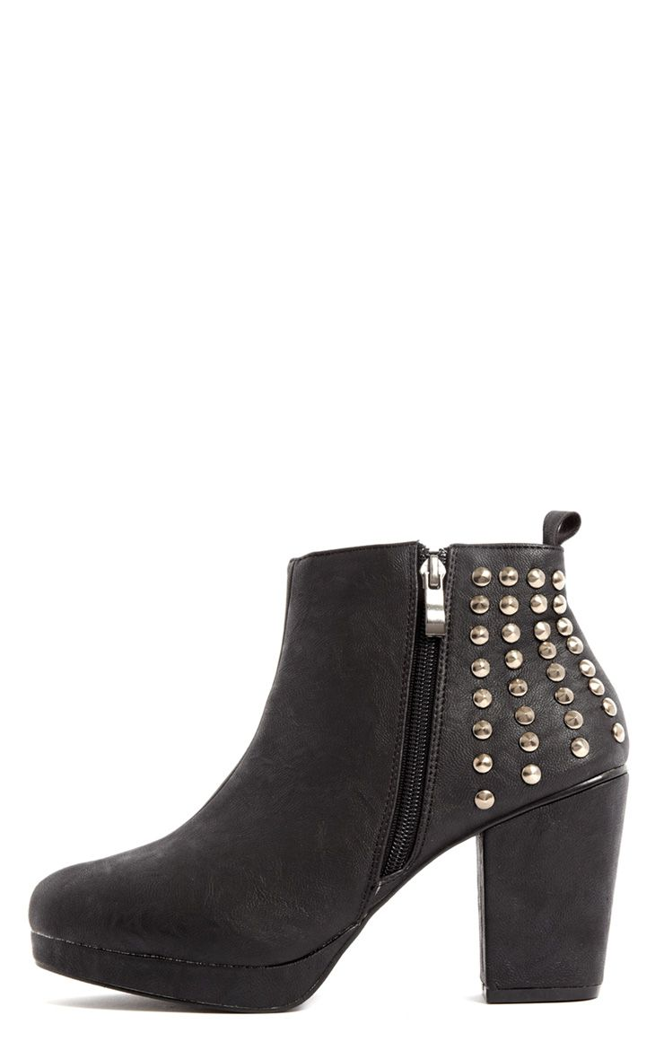 Jocelyn Black Pu Ankle Stud Boot 1