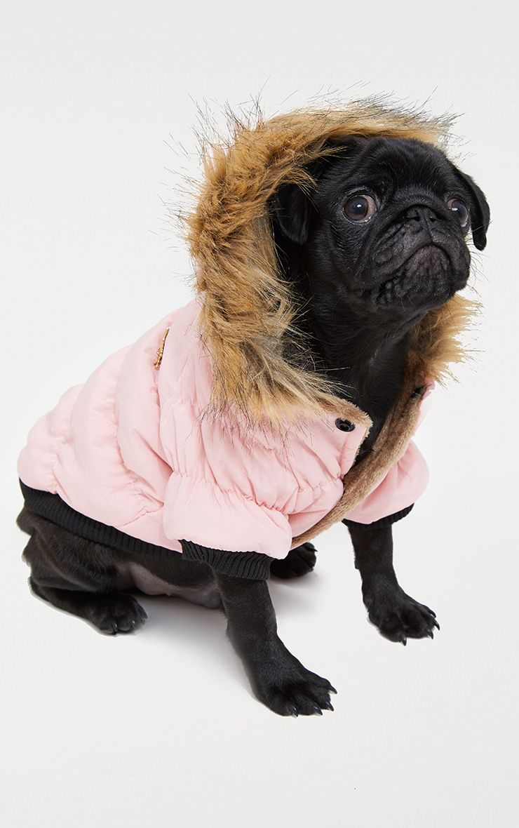 Pink Quilted Faux Fur Hood Doggy Coat