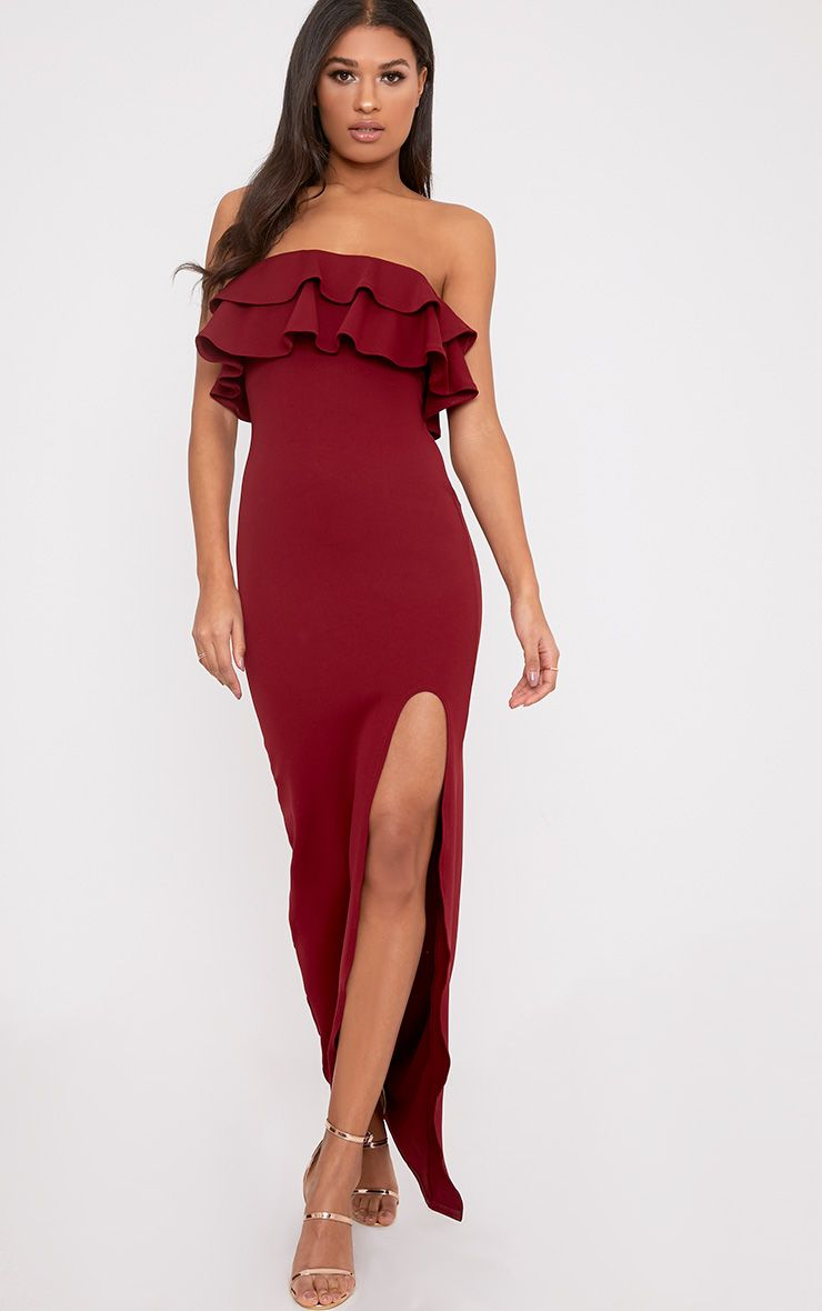 Angelique Burgundy Frill Bandeau Maxi Dress