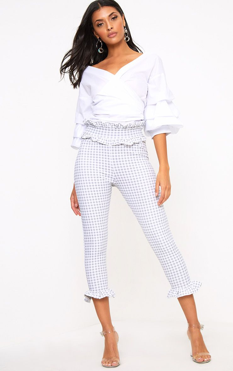 Grey Gingham Frill Hem Trousers
