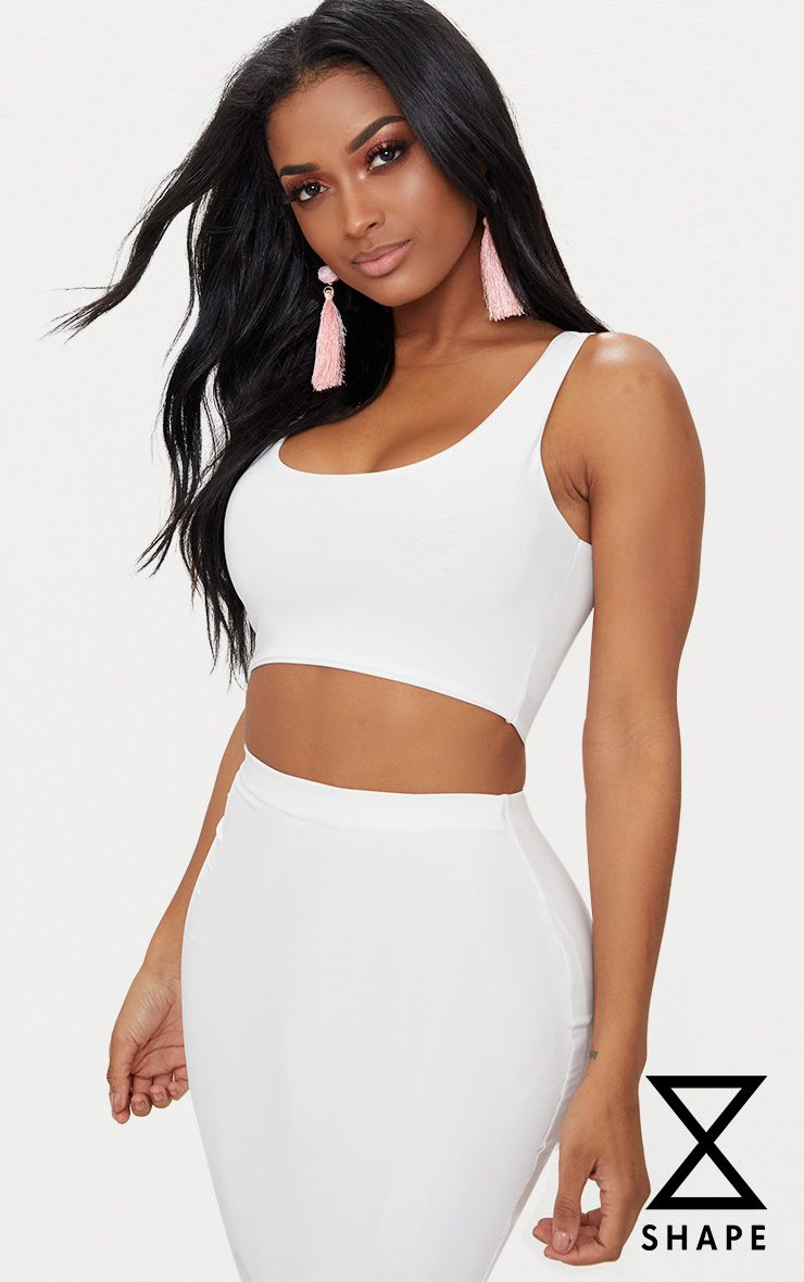 Shape White Slinky Square Neck Crop Top