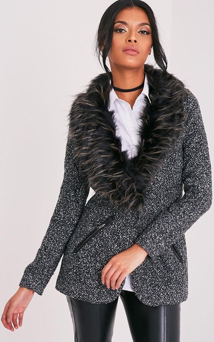 Jenifa Grey Faux Fur Collar Boucle Coat