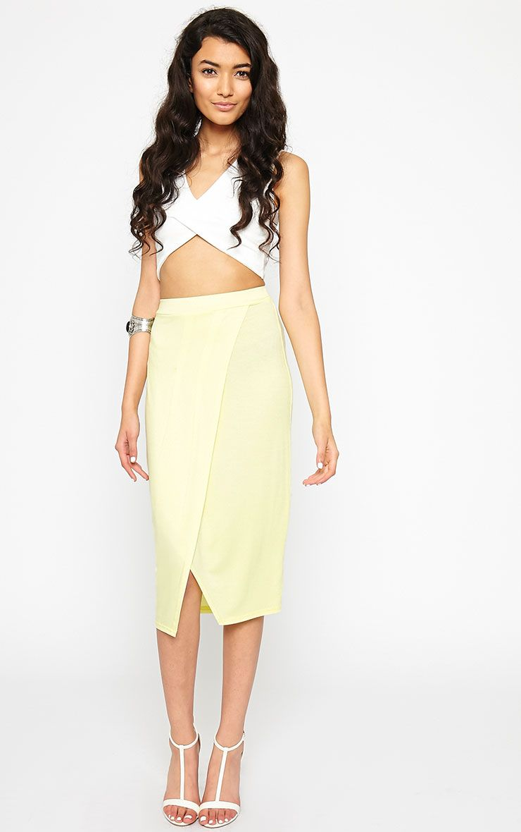 Sabbina Lemon Jersey Wrap Midi Skirt 1