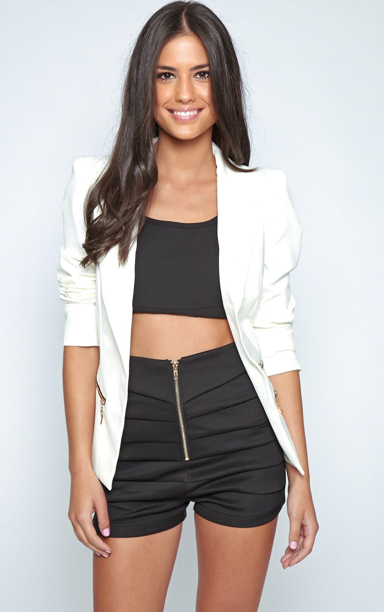 Calista White Zip Detail Blazer 1