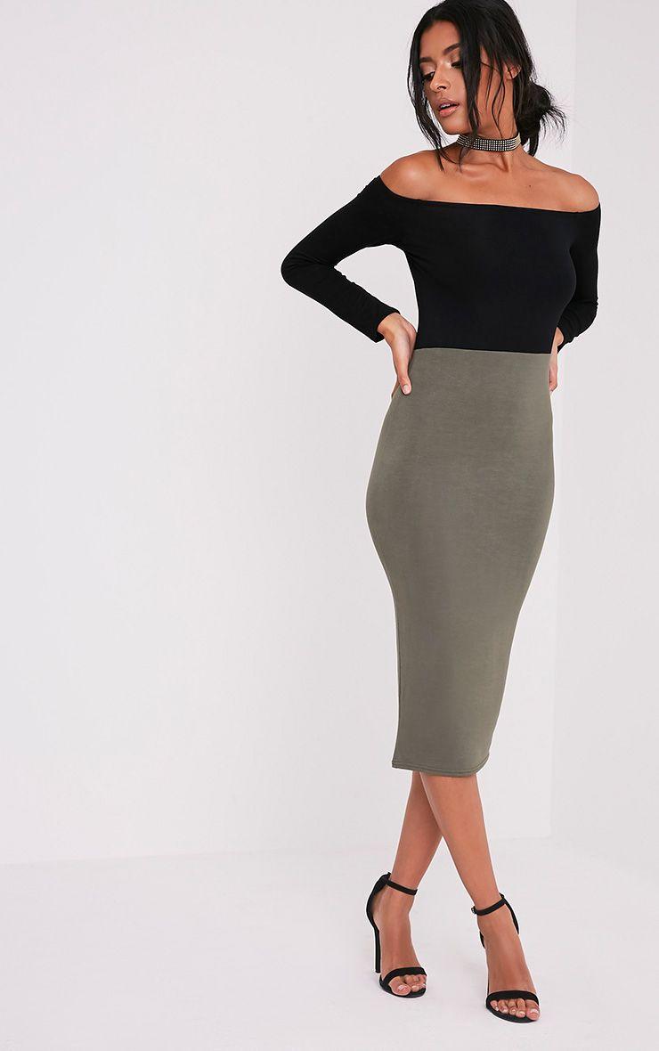 Kelisi Khaki Bardot Contrast Jersey Midi Dress 1