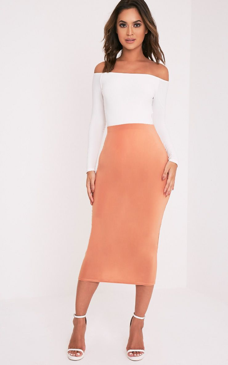 Steffany Peach Slinky Long Line Midi Skirt