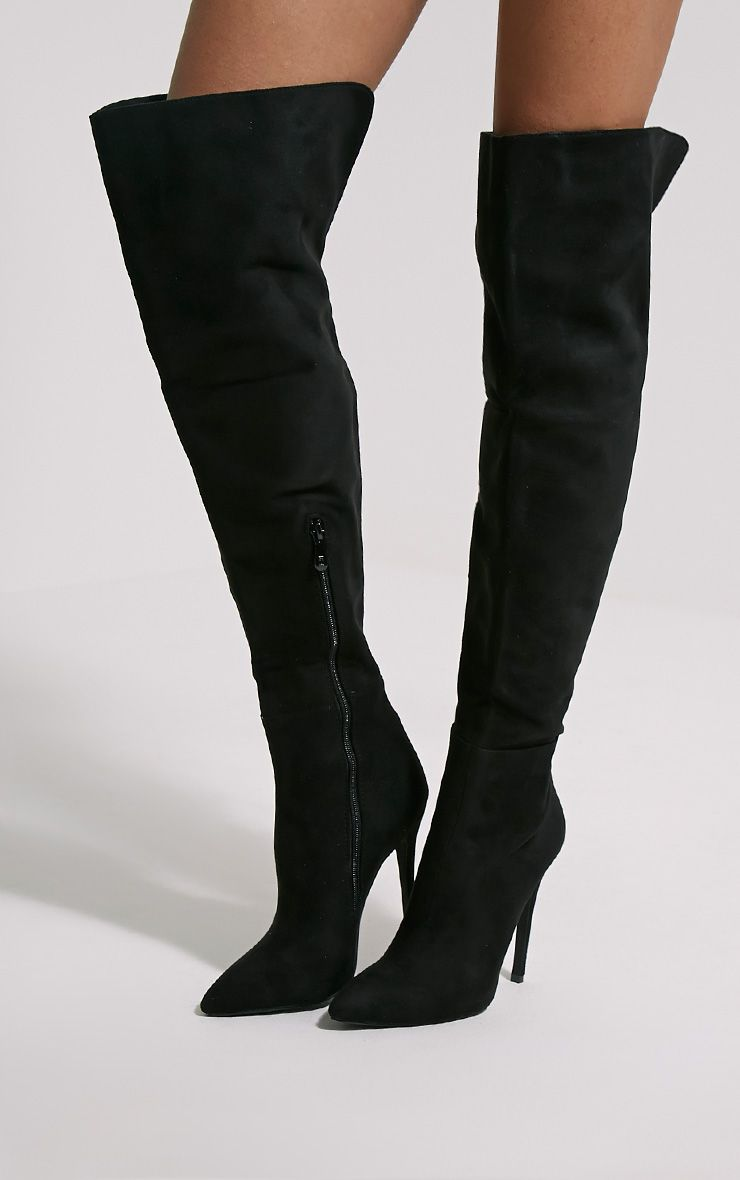 Liron Black Heeled Thigh High Boots 1
