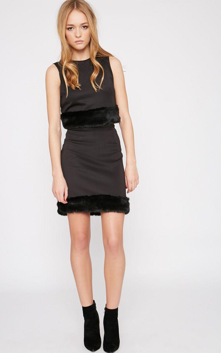Rosella Black Fur Trim Mini Skirt  1