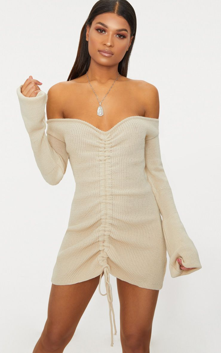 Stone Ruched Knit Dress