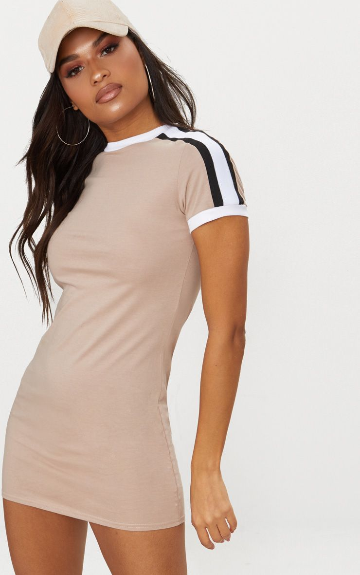 Stone Triple Stripe Shoulder T Shirt Dress
