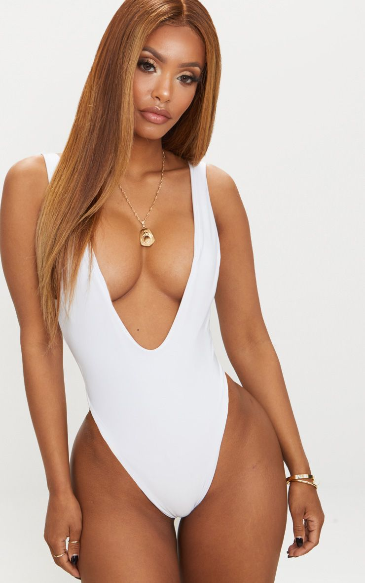 Choice For Sale Outlet Lowest Price Shape White Disco Slinky Extreme Plunge Bodysuit Pretty Little Thing Free Shipping Collections Cmvef