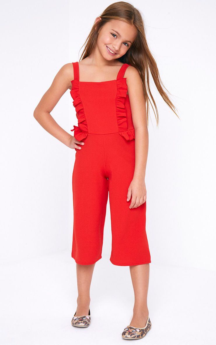 Frill Red Jumpsuit
