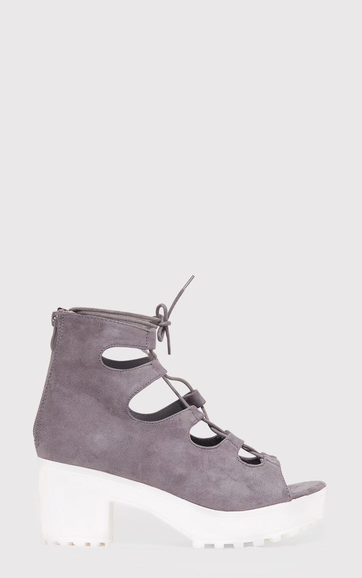 Caprice Grey Faux Suede Lace Up Sandals