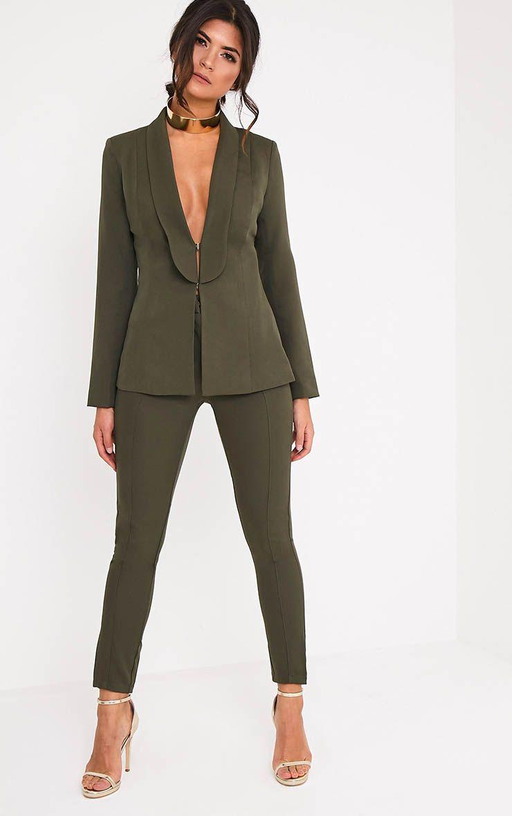 Avani Khaki Suit Trousers 1