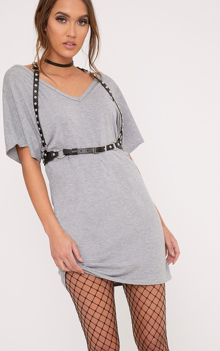 Basic Grey V Neck T Shirt Dress