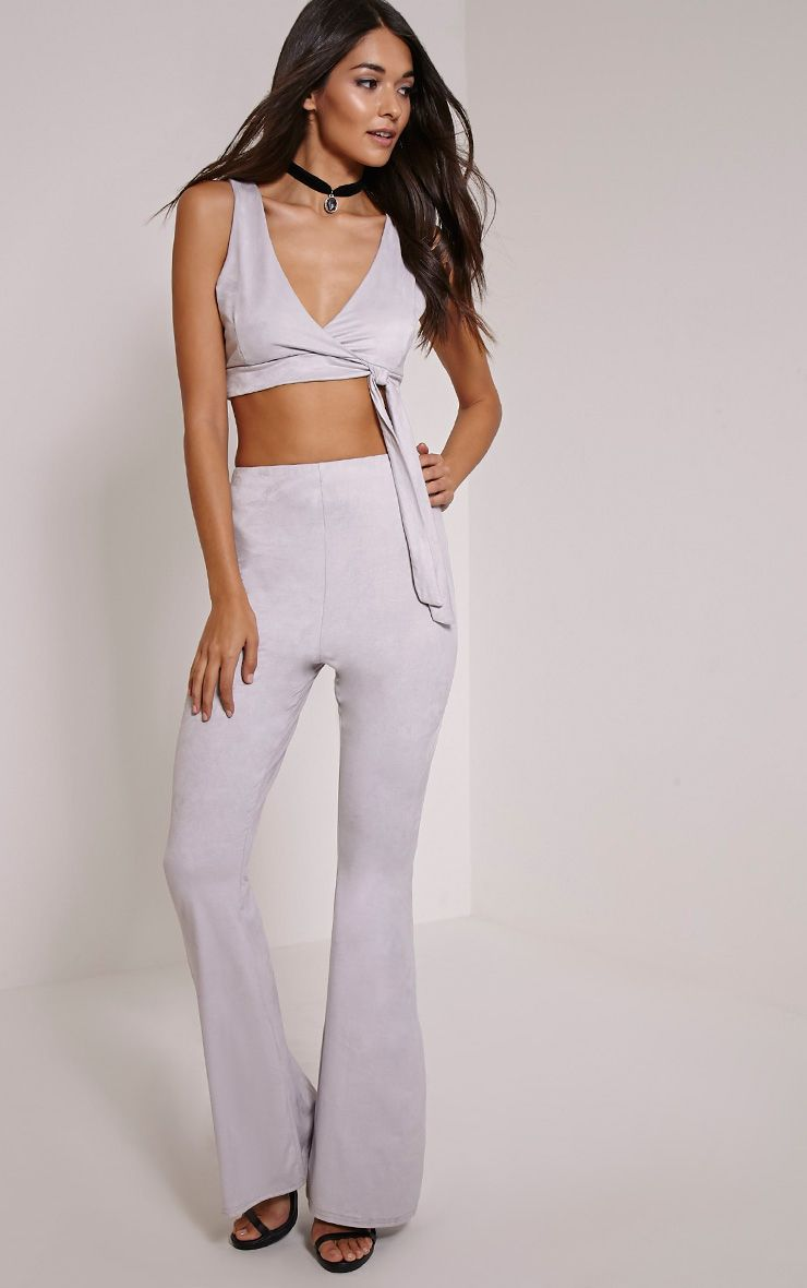Sloan Grey Faux Suede Flared Trousers 1