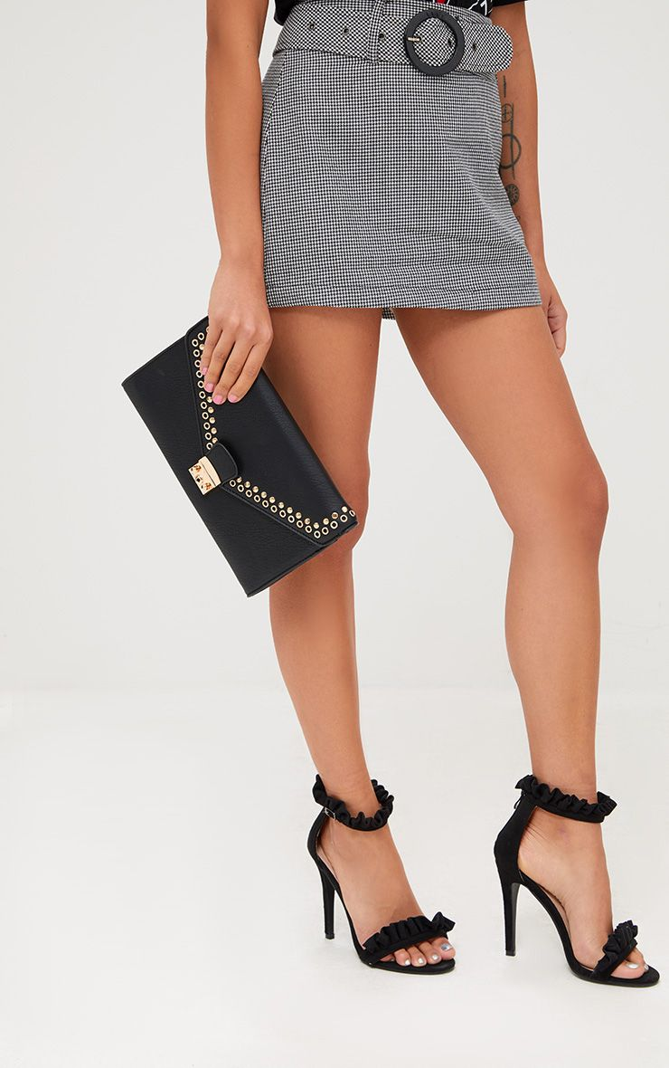 Black Eyelet and Stud Lockable Clutch