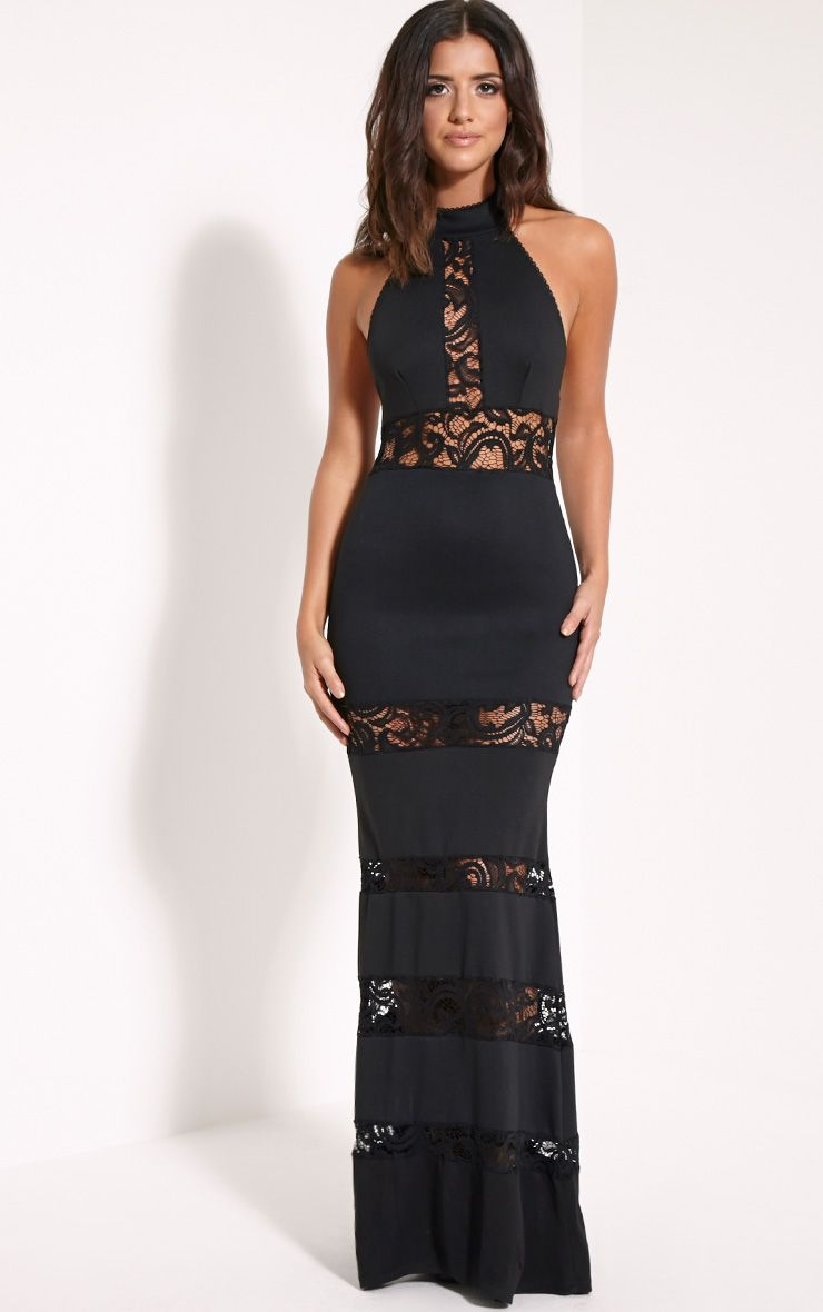Loucie Black Halterneck Lace Insert Maxi Dress 1
