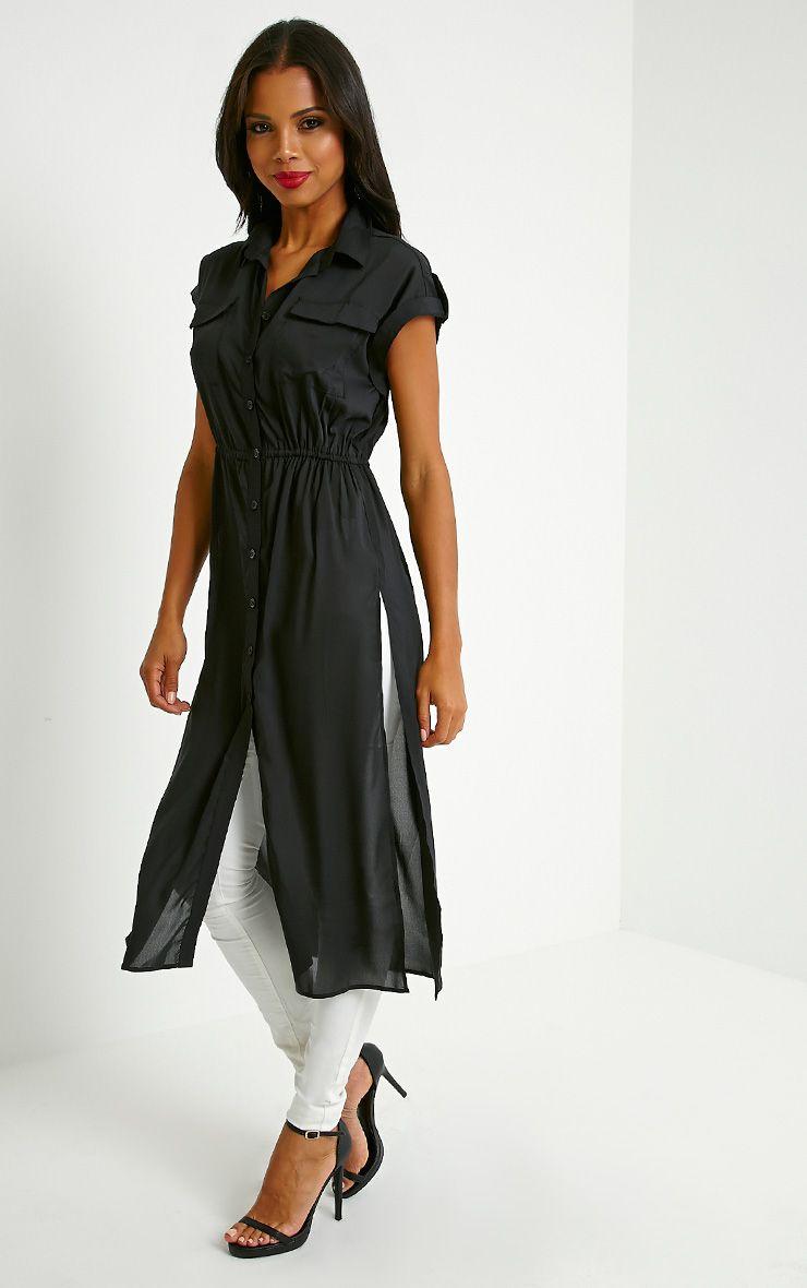 Freya Black Longline Shirt 1