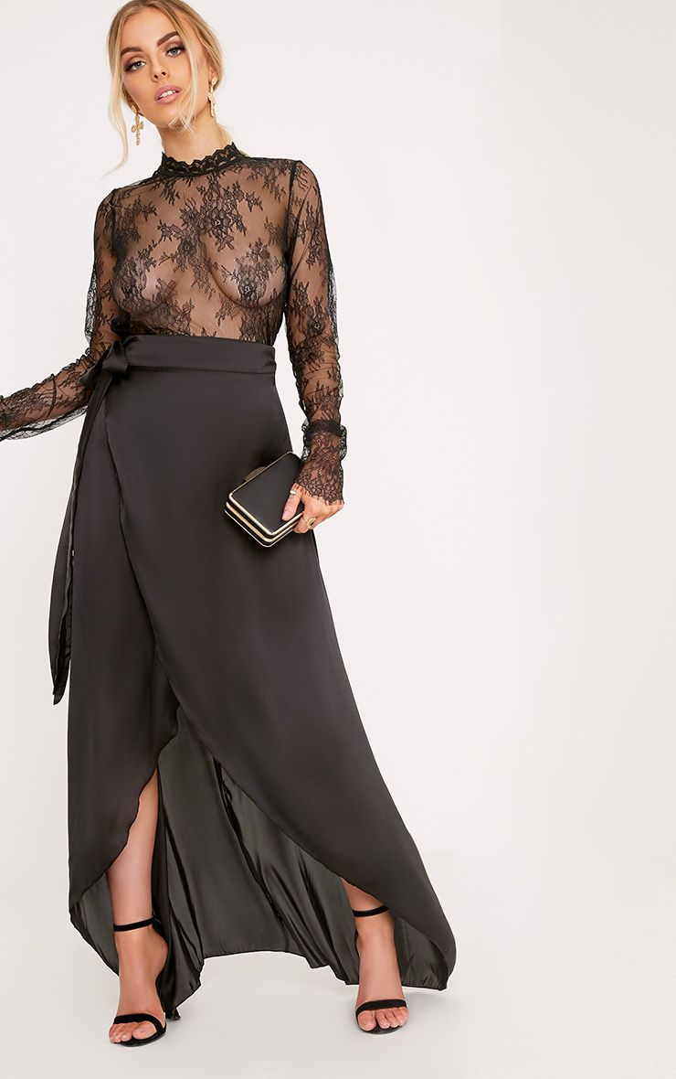 Sorella Black Satin Wrap Maxi Skirt