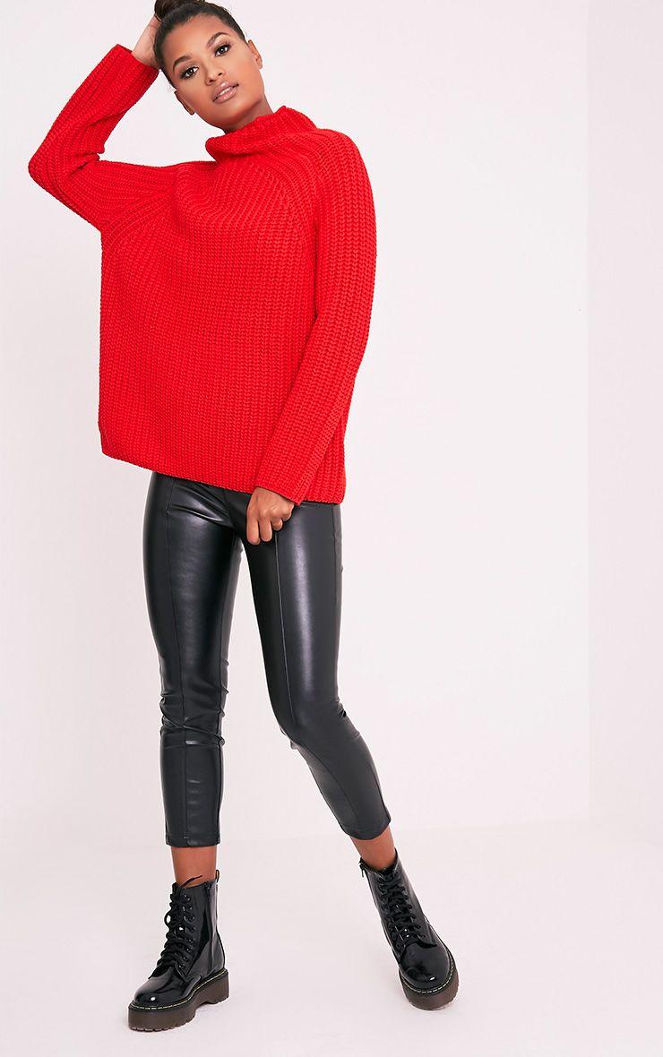 Rheana Red Oversized Chunky Knit Jumper 1