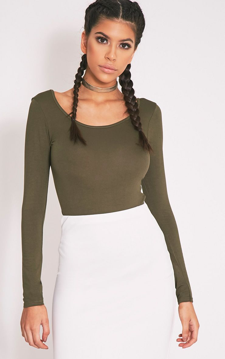Basic Khaki Scoop Back Longsleeve Bodysuit 1