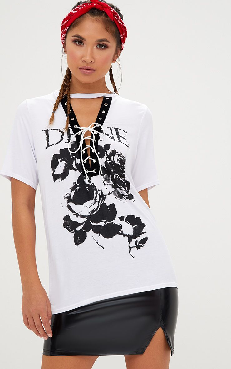 White Devine Slogan Lace Up T Shirt