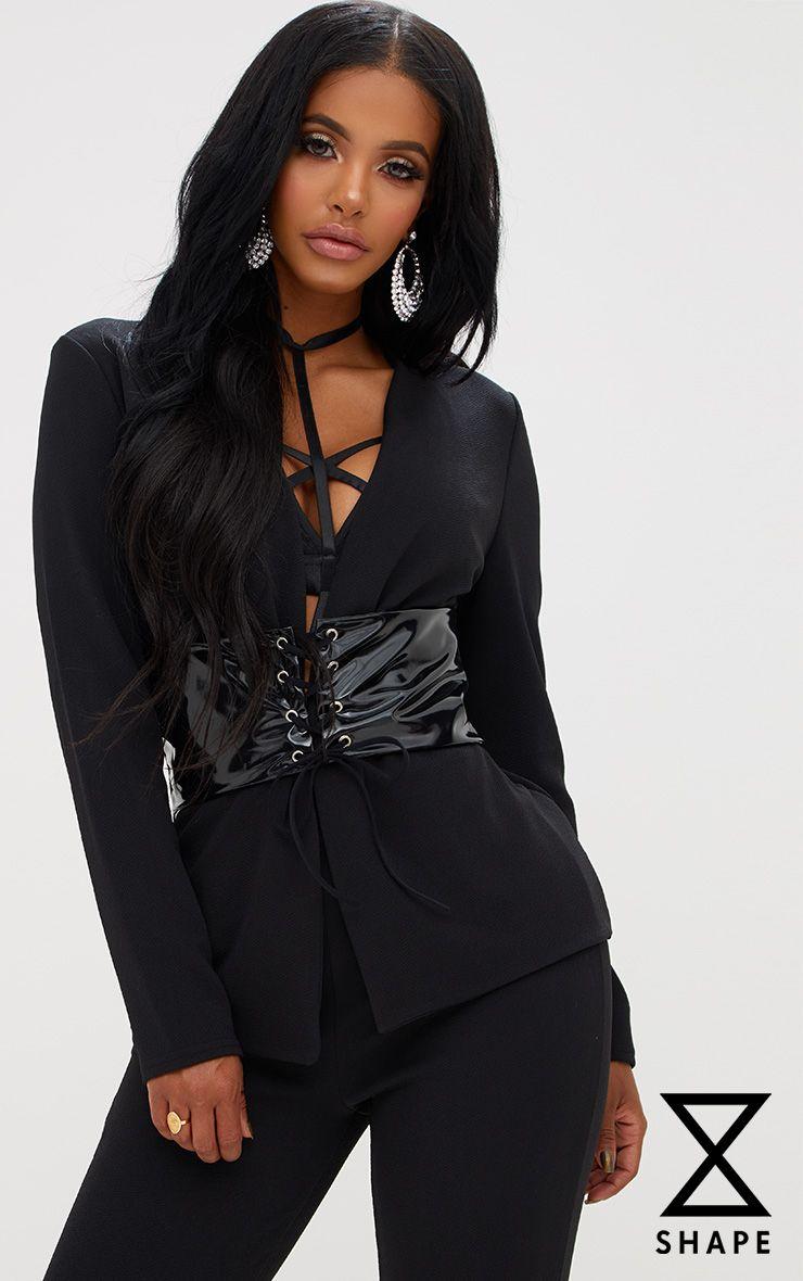 Shape Black Plunge Corset Detail Blazer