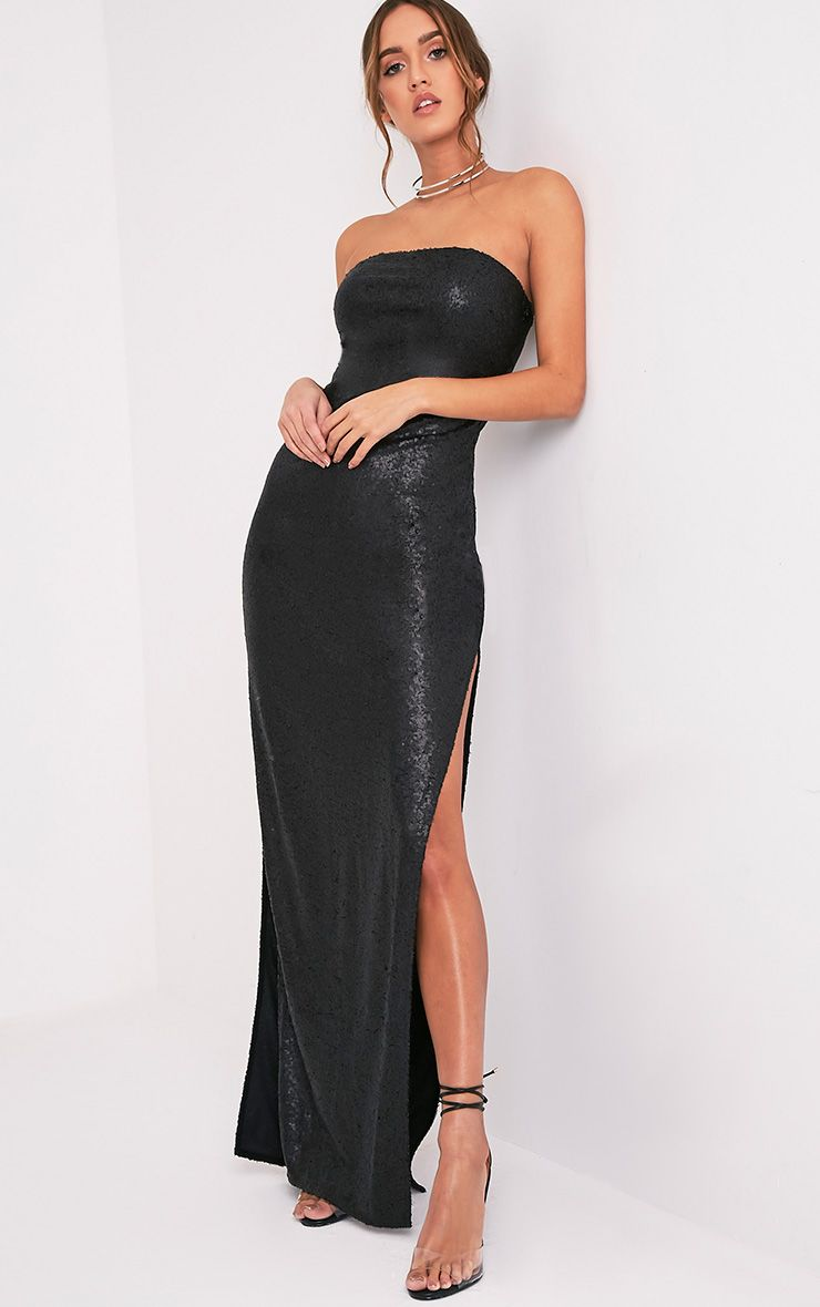 Kathie Black Bandeau Sequin Maxi Dress