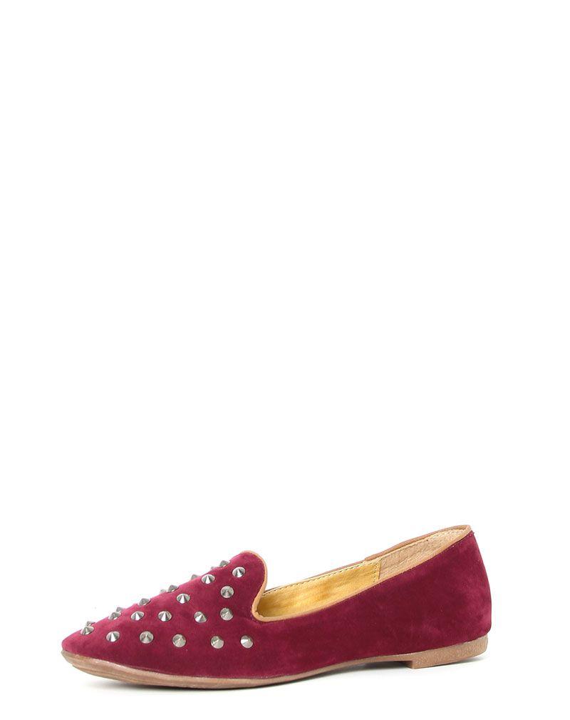Harriet Burgundy Studded Slipper Shoe -8 1