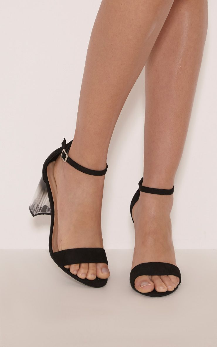 Rosa Black Clear Heeled Sandals 1