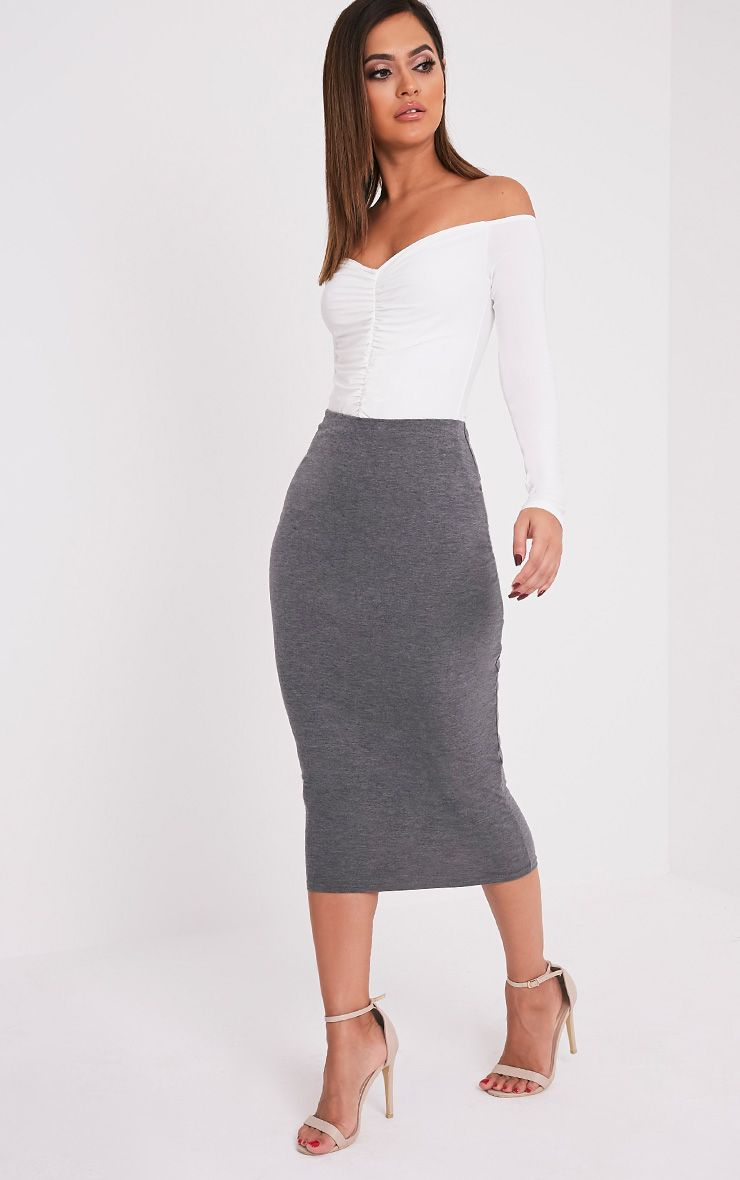 Basic Charcoal Long Line Midi Skirt