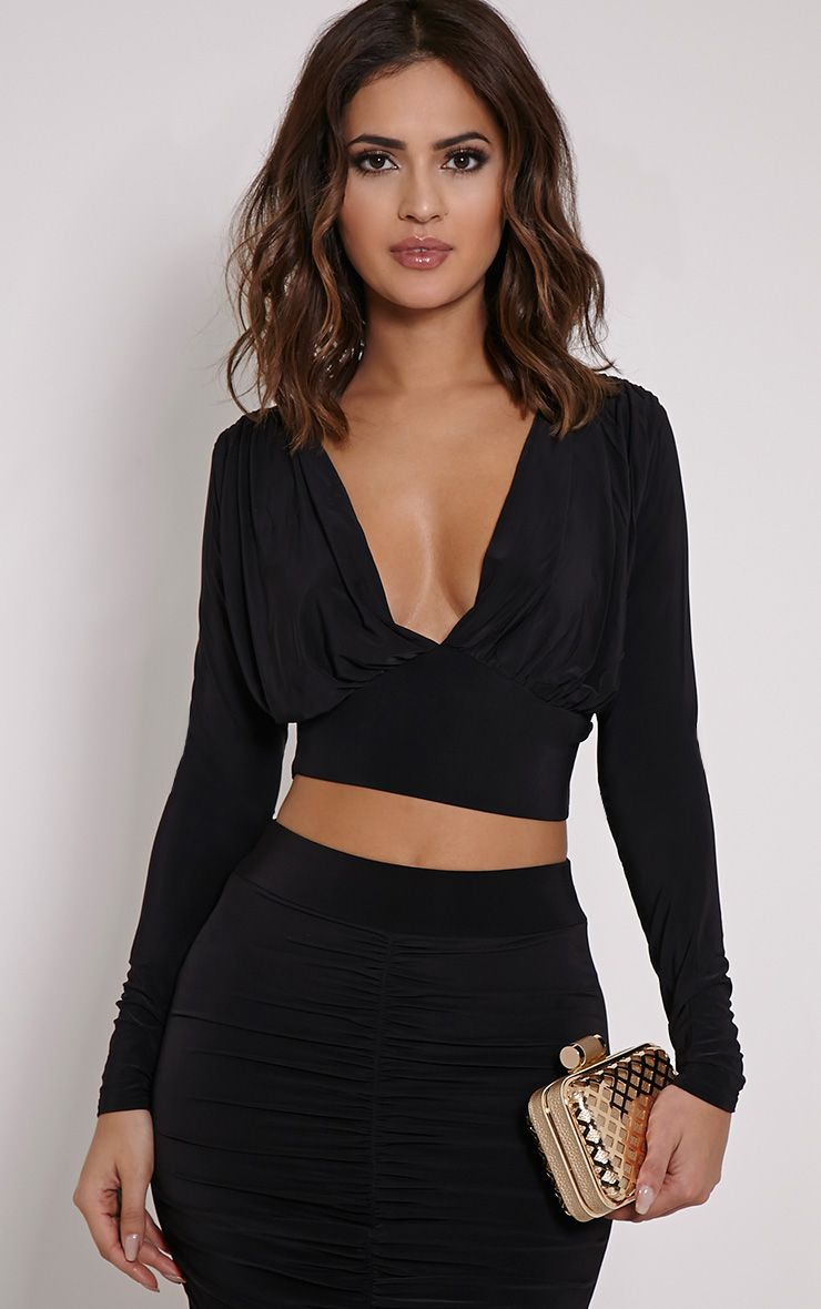 Nicole Black Slinky Ruched Crop Top