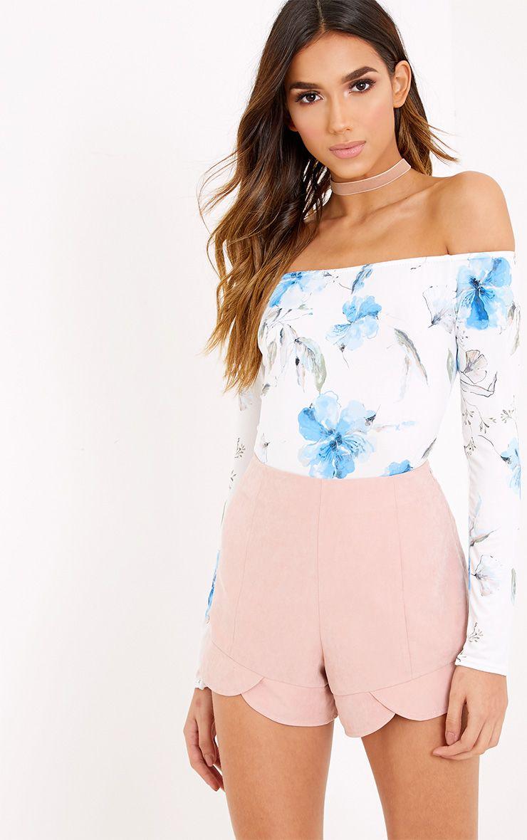 Rossalyn Blue Floral Slinky Bardot Bodysuit  1