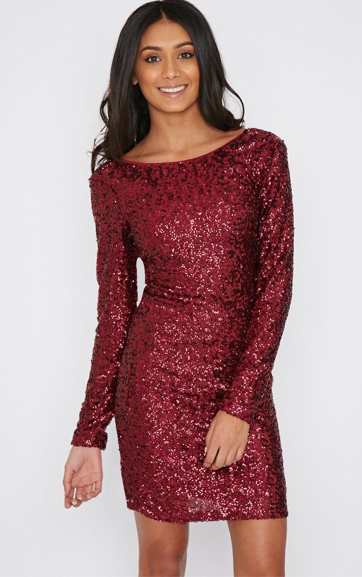 Danya Wine Sequin Bodycon Dress 1