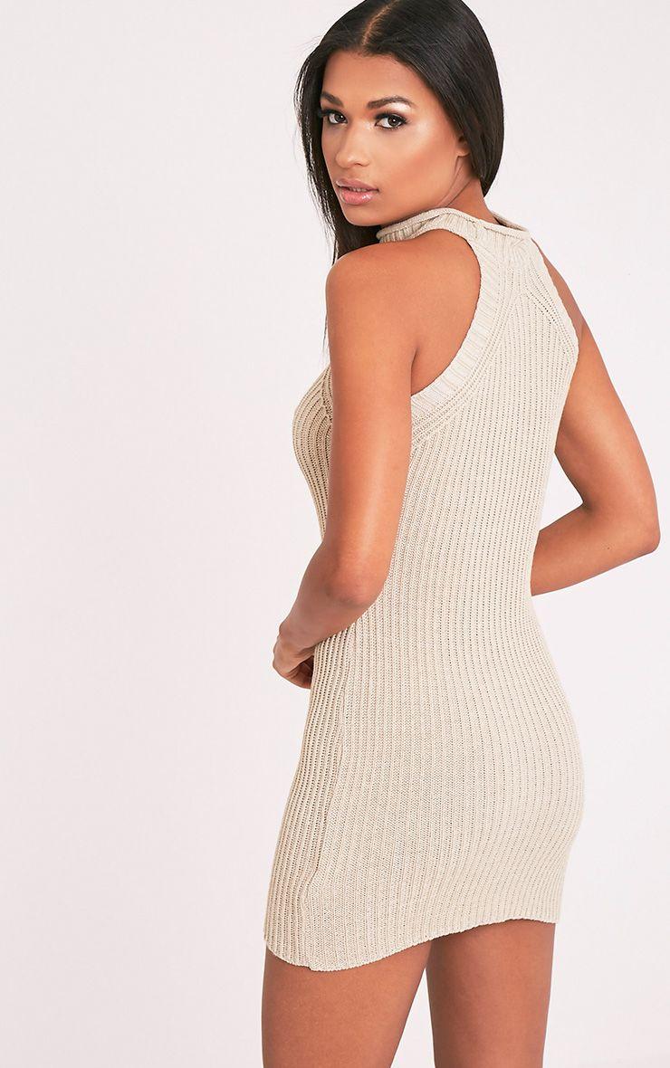 Nadalae robe mini sans manches col montant tricotée gris pierre 2