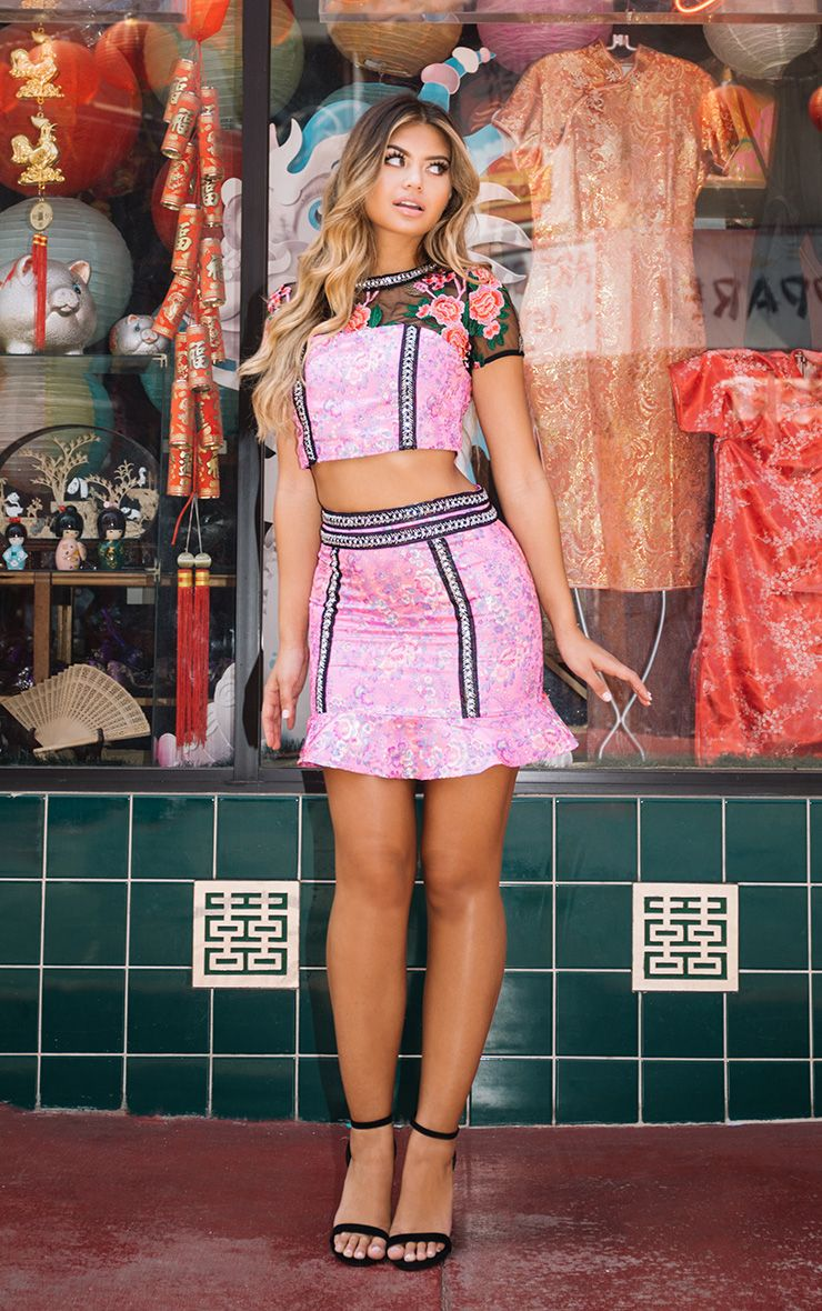 Premium Pink Jacquard Frill Hem Mini Skirt