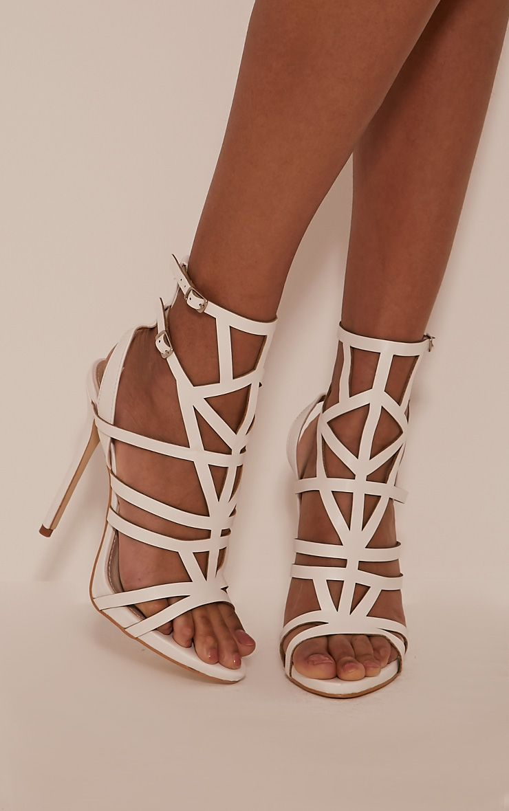 Sami White PU Cut Out Heeled Sandals