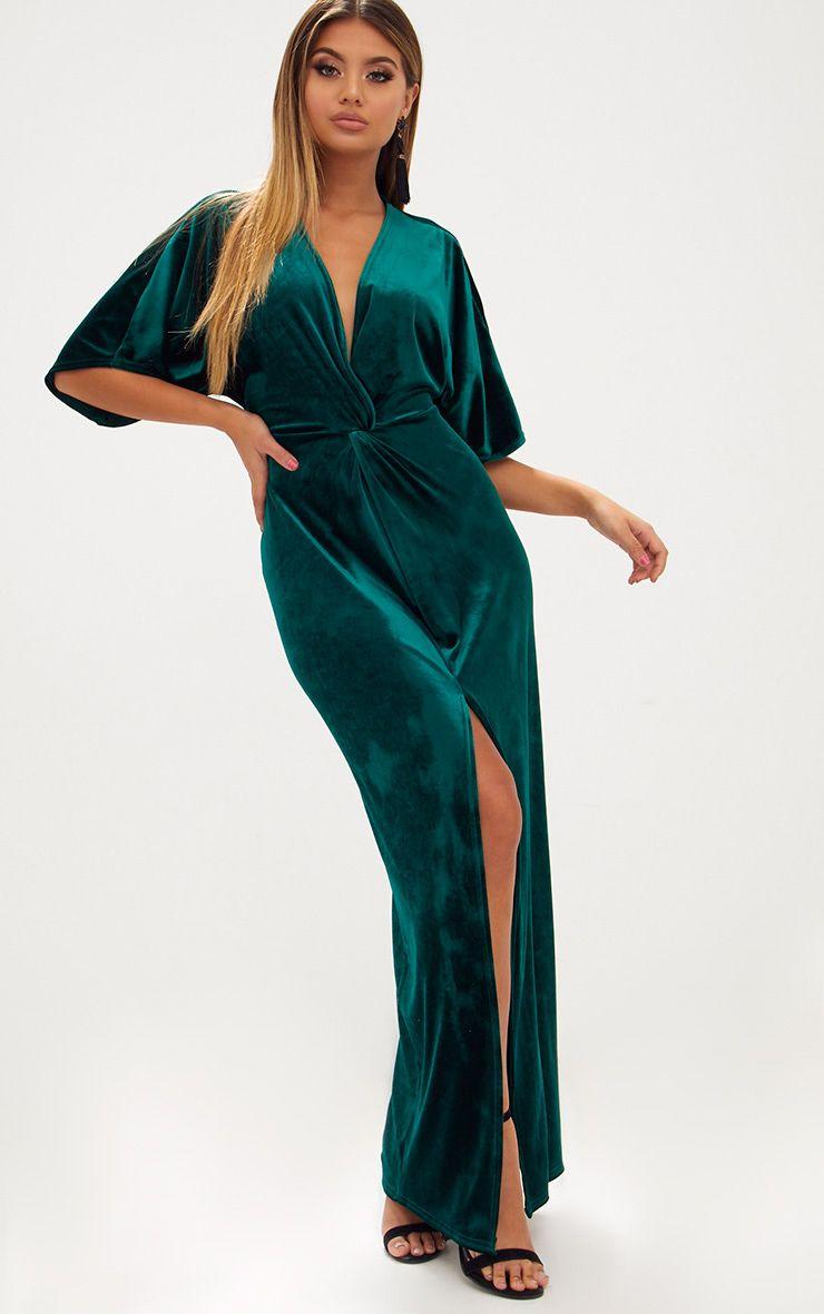 Emerald Green Velvet Kimono Sleeve Maxi Dress