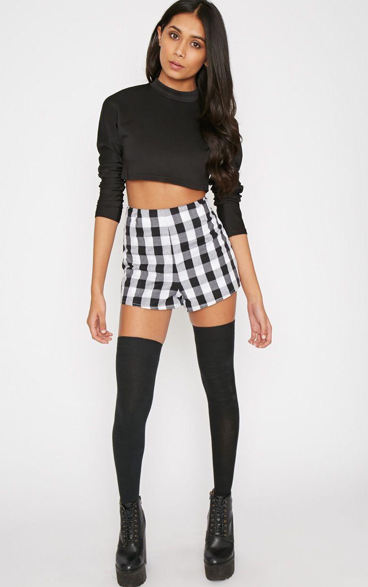 Portia Black Checked Short  1